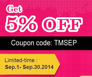 5% off Sitewide @Tmart.com. Coupon:TMSEP