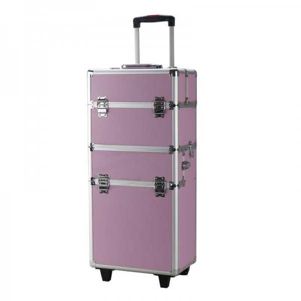 $67.99 for 3-in-1 Draw-bar Style Portable Makeup Train Case Pink