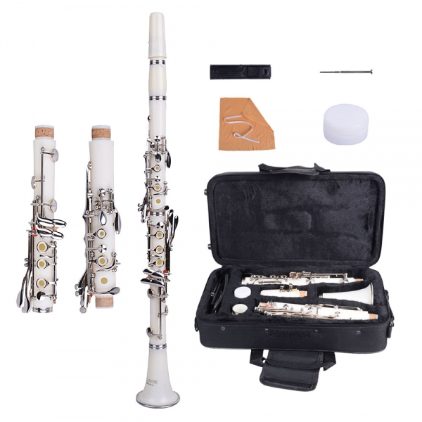 $68.99 for Brand New Bakelite 17 Key B? Clarinet White with Bag Cloth Screwdriver
