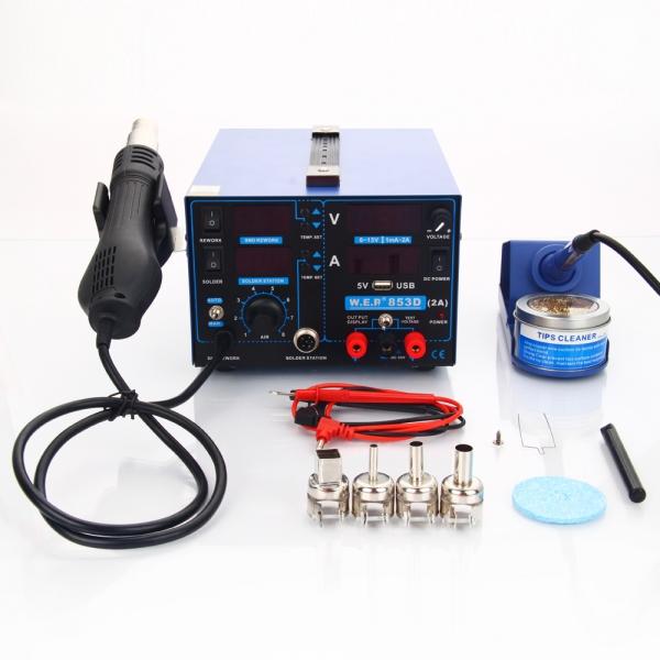 $34 OFF for 3 in1 853D 110V SMD Rework Soldering Station Hot Air Gun + DC Power Supply 15V 2A