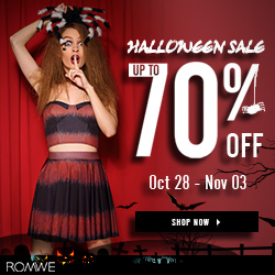 free shipping,coupon,romwe,discount,24 hours,discount,one week,70%   OFF, Halloween