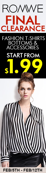 Fashion T-Shirts, Bottoms, & Accessories starting at $1.99 at ROMWE.com!  Sale ends 2/12/15.