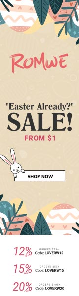 Easter Sale at us.ROMWE.com. Take 20% ORDERS US$105+ with code LOVERW20. Offer expires 04/04/2021