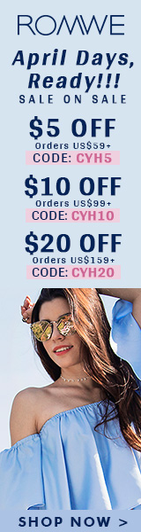 Save $20 off on orders over $159+ at ROMWE.com with promocode CYH20! Sale ends 4/10