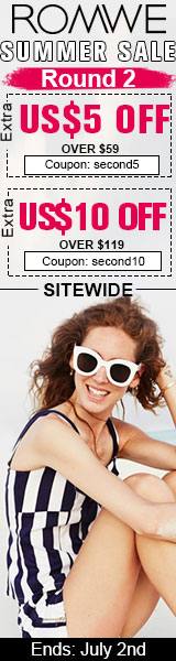 Summer Sale continues! Take up to $10 off orders $119+ at ROMWE.com! Ends 7/2