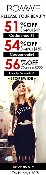 Save up to 56% off orders of $229+ at ROMWE.com! Click for details – ends 9/10