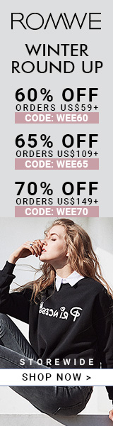 Save 70% off on orders over $149 at ROMWE.com with promocode WEE70! Sale ends 1/23