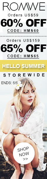 Save 65% off on orders over $159 at ROMWE.com with promocode HMS65! Sale ends 6/6