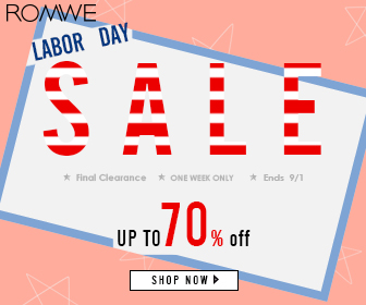 ROMWE's new big promotion is already online, the Labor Day, up to 70% OFF, ends on September 1st. Shop now!