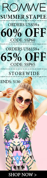 Save 65% off on orders over $159 at ROMWE.com with promocode SSP65! Sale ends 5/30