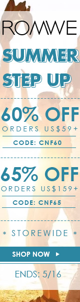 Save 65% off on orders over $159 at ROMWE.com with promocode CNF65! Sale ends 5/16