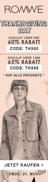 Sparen Sie 65% Rabatt auf Bestellungen über $159 bei de.ROMWE.com mit code THX65! endet 21/11