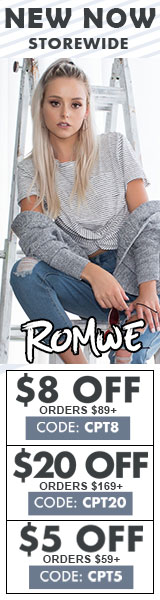 New Now!  Shop now and save $20 off orders of US$169+.  Use Code CPT20 at Romwe.com  Ends 9/18
