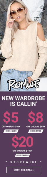 A New Wardrobe is Callin! Shop now and save $20 off orders of US$169+. Use Code NYC20 at Romwe.com Ends 10/2