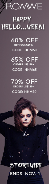Save 65% off on orders over $159 at ROMWE.com with promocode HHM65! Sale ends 11/1
