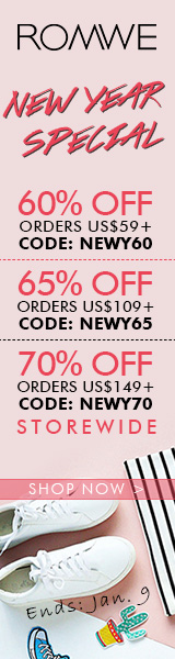 Save 70% off on orders over $149 at ROMWE.com with promocode NEWY70! Sale ends 1/9