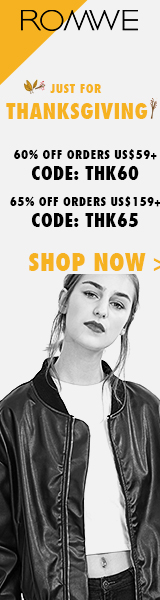 Save 65% off on orders over $159 at ROMWE.com with promocode THK65! Sale ends 11/8