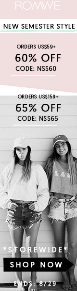 Save 65% off on orders over $159 at ROMWE.com with promocode NSS65! Sale ends 8/29