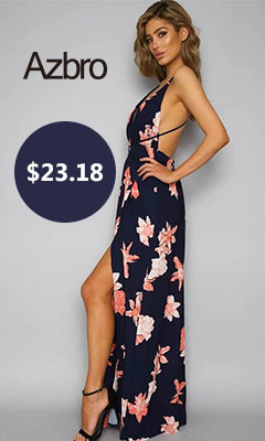 Backless Floral Printed High Slit Maxi Prom Dress