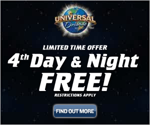 Book a 3 day Universal Orlando Vacation and Get a 4th Night Free - Click for Details