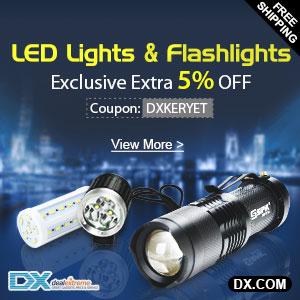LED Lights & Flashlights Extra 5% OFF at DX.com