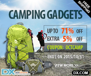 Camping Gadgets Up to 71% OFF + Extra 5% OFF. Coupon:  OCTCAMP