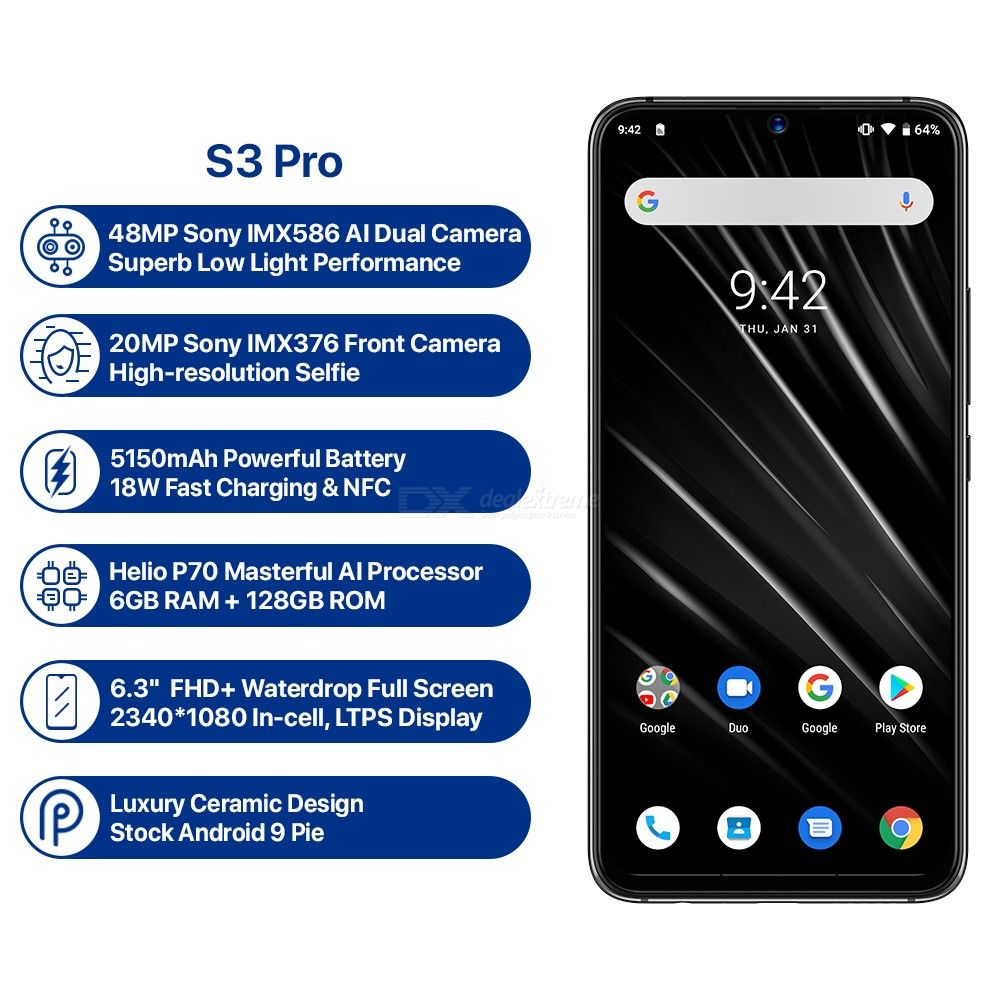 UMIDIGI S3 PRO Android 9.0 48MP+12MP+20MP Super Camera 5150mAh P70 6GB RAM+128GB ROM Smart Phone @ $299.99 + Free Shipping from DealExtreme