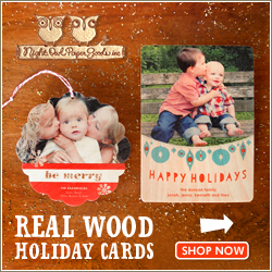 Personalized Wood Ornaments & Holiday Cards