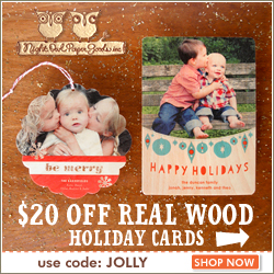 15% off Personalized Holiday Cards - You choose real wood or paper.