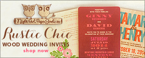Rustic Chic Real Wood Wedding Invitations by Night Owl Paper Goods