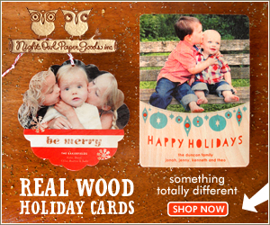 Personalized Wood and Paper Holiday Cards