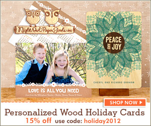 Unique Personalized Wood Holiday Cards by Night Owl Paper Goods
