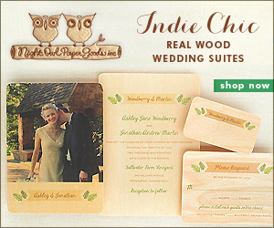 Indie Chic Real Wood Wedding Suites by Night Owl Paper Goods