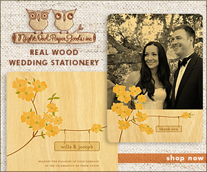 Real Wood Wedding Stationery by Night Owl Paper Goods