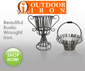 Rustic Wrought Iron decor, planters, benches, arbors, trellises and baskets