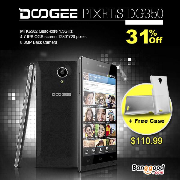31% OFF DOOGEE PIXELS DG350 4.7-inch MTK6582 1.3GHz Quad-core Smartphone+Original Protective Hard