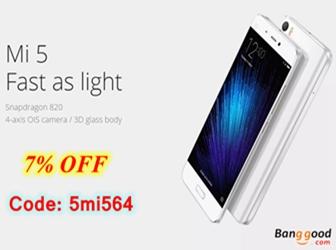 7% OFF for Xiaomi Mi5 3GB RAM 64GB ROM 4G Smartphone