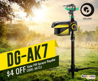 $29.98 for Digoo DG-AK7 Garden PIR Sensor Animal Repeller Solar Energy Auto-rotation Water Sprinkler
