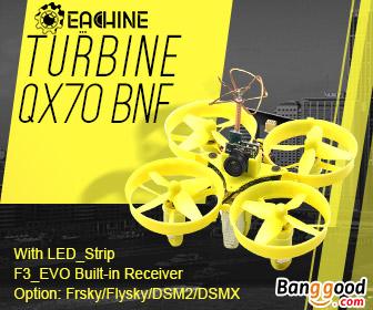 20% OFF Eachine Turbine QX70 70mm Micro FPV LED Racing Quadcopter BNF
