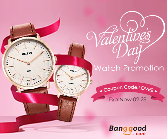 Happy Valentines Day!!! Up to 58% OFF for Watch with Extra 15% OFF Coupon