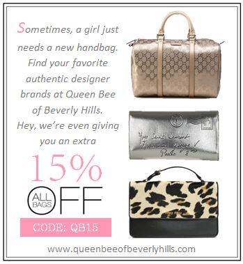 15% off designer handbags at Queen Bee of Beverly Hills