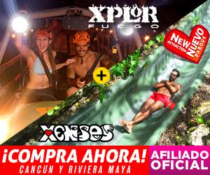 Xenses+ Xplor Fuego Parques Combo de dos parques: desafía tus sentidos + deslizate en la noche en tirolesas en Playa del Carmen, México