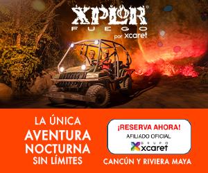 Parque Xplor Fuego en la noche todo es mejor iluminado con antorchas tirolesas, anficions, balsas y ríos subterraneos, incluye cena buffet en Cancun, Playa del Carmen.
