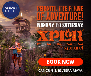 Xplor Fuego Park at night everything gets better enjoy zip lines, amphibious, rafts & underwater rivers, buffet meal included. Cancun, Playa del Carmen.