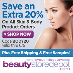 Extra 20% Off Skin & Body + Free Ship & Free Samples, code BODY20
