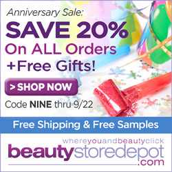 Anniversary Sale: 20% Off + Free Ship + Free Gifts, code NINE at beautystoredepot.com