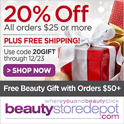 20% Off $25+ with Free Ship + Free Samples at beautystoredepot.com, code 20GIFT