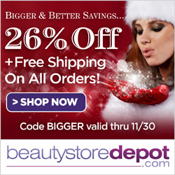 26% Off + Free Shipping for Black Friday and Cyber Monday at Beautystoredepot.com! Use code BIGGER 11/27-11/30 plus FREE beauty swag bags that get bigger the more you spend!