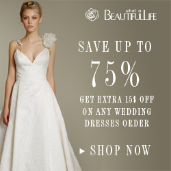 Get extra 15$ off on any wedding dresses order.