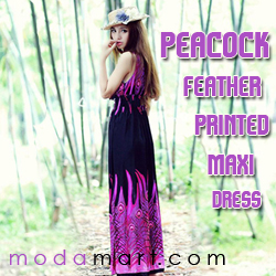 womens elegant stylish maxi dress,V Neckline Peacock Feather printed dresses